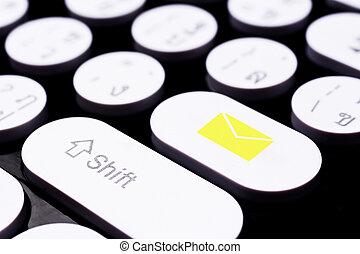 post, symbool, op, toetsenbord