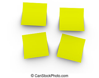 3d rendered image of 4 blank, yellow post-it notes. Easy to add your own text or graphic.