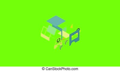 Post truck icon animation cartoon object on green screen background