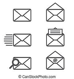 post, vektor, icons., grafik