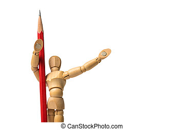 Post victory of wood human model with red pencil isolated on white background.