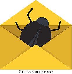Post virus icon, flat style