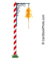 post with hanging bell vector illustration isolated on white background