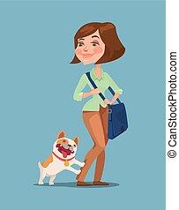 Post women and happy dog