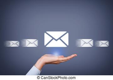 posta, överföring, begrepp, på, människa lämna