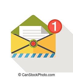 posta, appartamento, ufficio, icona