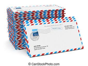 posta, carta, lettere, pila