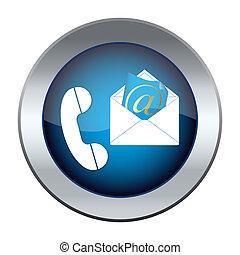 posta elettronica, bottone, telefono