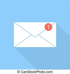 posta elettronica, icon., busta, notificazione, letter.