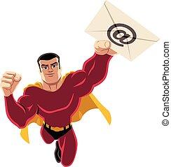 posta elettronica, volare, superhero