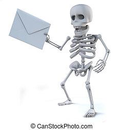 posta, ha, scheletro, 3d