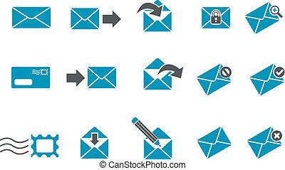 posta, set, icona