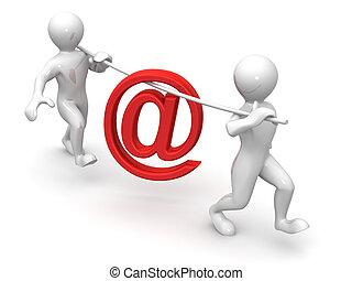 posta, simbolo, uomini, due