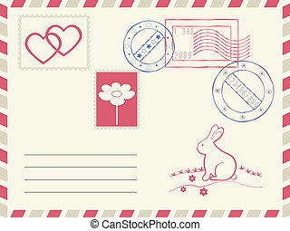 Postage envelope. - Postage envelope and decoration...