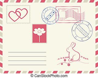 Postage envelope. - Postage envelope and decoration elements...
