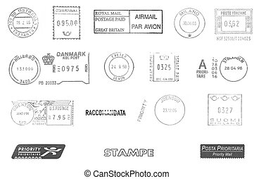 Postage meters, rubber stamps, mail labels isolated over...