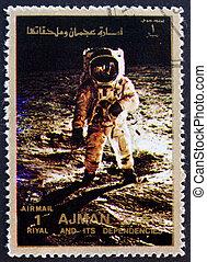 Postage stamp Ajman 1973 Aldrin walks on the Moon