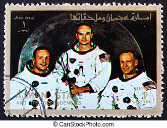 Postage stamp Ajman 1973 Crew of Apollo 11 - AJMAN - CIRCA...