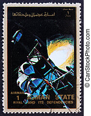 Postage stamp Ajman 1973 Eagle and Columbia in Space