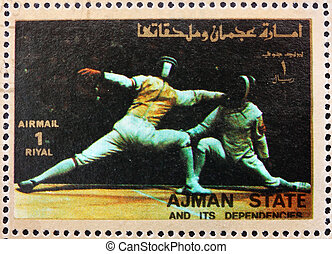 Postage stamp Ajman 1973 Fencing, Olympic sports