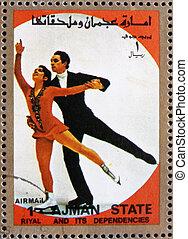Postage stamp Ajman 1973 Figure Skating, Winter Olympics