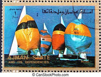 Postage stamp Ajman 1973 Sailing, Summer Olympics