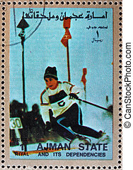 Postage stamp Ajman 1973 Slalom, Alpine skiing, Winter Olympics