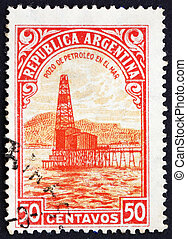 Postage stamp Argentina 1936 Oil Well, Petroleum