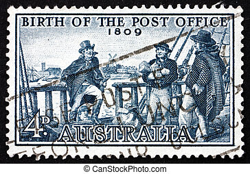 AUSTRALIA - CIRCA 1959: a stamp printed in the Australia shows Postmaster Isaac Nichols Boarding Vessel to Receive Mail, 150th Anniversary of the First Post Office, Sydney, circa 1959