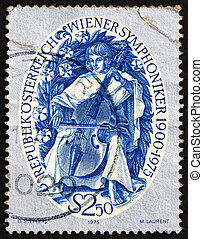 Postage stamp Austria 1975 Stylized Musician Playing a Viol