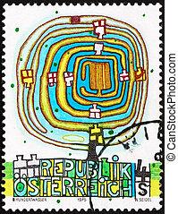 AUSTRIA - CIRCA 1975: a stamp printed in the Austria shows The Spiral Tree, by Friedenstreich Hundertwasser, circa 1975