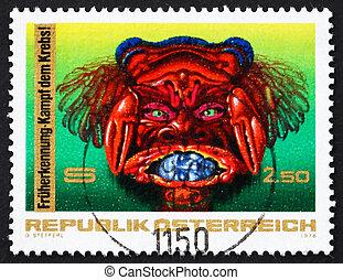Postage stamp Austria 1976 Fight against Cancer
