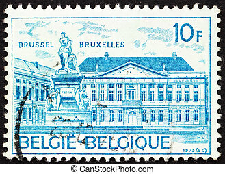 BELGIUM - CIRCA 1975: a stamp printed in the Belgium shows Martyrs? Square, Brussels, circa 1975
