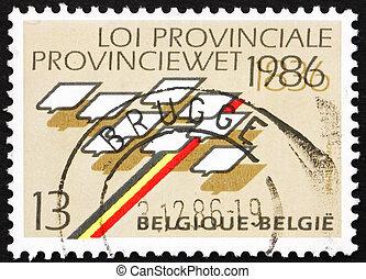 Postage stamp Belgium 1986 Stylized Map of Belgium