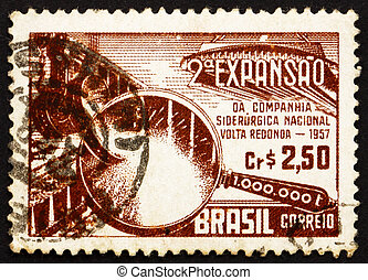 Postage stamp Brazil 1957 Symbolical of Steel Production - ...