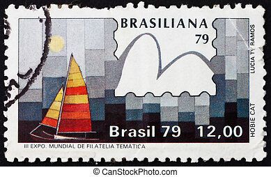 BRAZIL - CIRCA 1979: a stamp printed in the Brazil shows Hobie Cat Class, Yachts and Stamps, Brasiliana ?79, 3rd World Thematic Stamp Exhibition, Sao Conrado, circa 1979