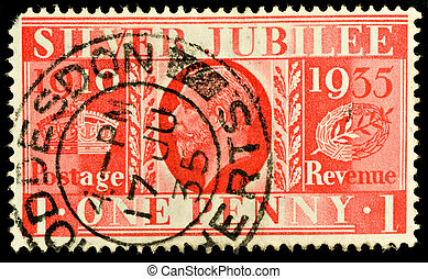 One penny postage  Mail stamp printed in the uk featuring