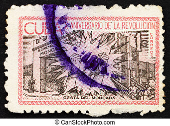 Postage stamp Cuba 1963 Broken Chains at Moncada