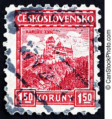 CZECHOSLOVAKIA - CIRCA 1926: a stamp printed in the Czechoslovakia shows View of the Karlstein Castle, circa 1926