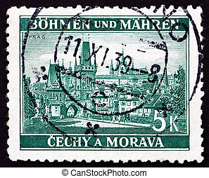 CZECHOSLOVAKIA - CIRCA 1939: a stamp printed in the Czechoslovakia shows View of Prague, Bohemia and Moravia, circa 1939