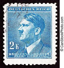 CZECHOSLOVAKIA - CIRCA 1942: a stamp printed in the Czechoslovakia shows Adolf Hitler, Chancellor of Germany, Politician, Bohemia and Moravia, circa 1942