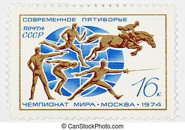 postage stamp dedicated to the sports category. Moscow
