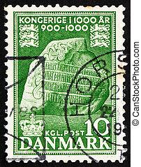 Postage stamp Denmark 1953 Jelling Runic Stone - DENMARK -...