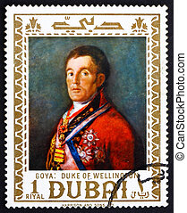 Postage stamp Dubai 1967 Duke of Wellington by Francisco...