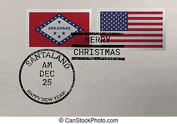 Postage stamp envelope with Arkansas and US flag, Christmas and New Year stamps, vector