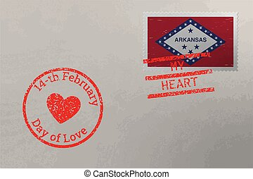 Postage stamp envelope with Arkansas flag and Valentine s Day stamps, vector