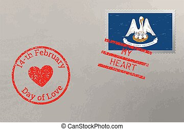 Postage stamp envelope with Louisiana flag and Valentine s Day stamps, vector