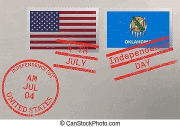 Postage stamp envelope with Oklahoma and USA flag and 4-th July stamps, vector.