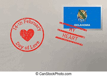 Postage stamp envelope with Oklahoma US flag and Valentine s Day stamps, vector