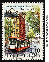 Postage stamp Finland 1979 Streetcar, Helsinki - FINLAND -...